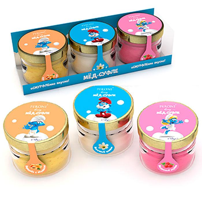 Peroni Смурфики набор мед-суфле, 3 шт по 30 мл312sНабор из трех мини-баночек с медом-суфле и смурфиками - абрикосовый, малиновый и молочный цветок