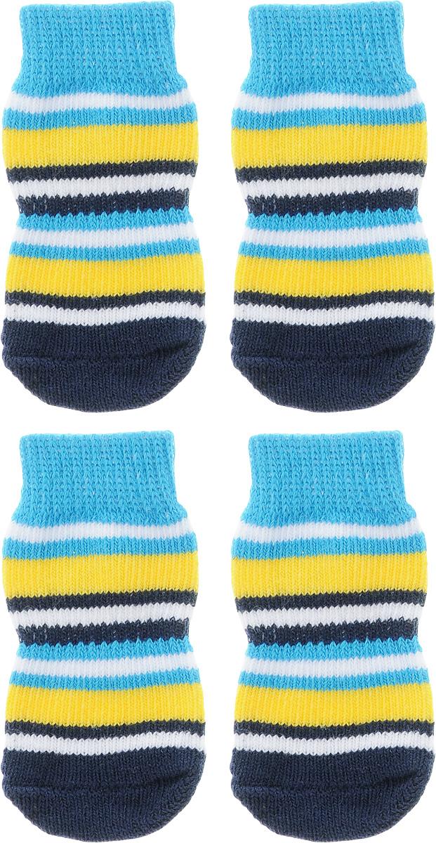 Носки для собак Каскад, цвет: голубой, желтый, темно-синий, 4 шт. Размер M28000148_голубой, желтый, черныйНоски Каскад предназначены для собак. Изделия выполнены из прочной ткани. Носки снабжены прорезиненной подошвой для того, что бы ваш питомец мог без проблем бегать по скользкой поверхности. Носки имеют удобную резинку, которая будет плотно прилегать к ноге питомца. Носки будут служить защитой лап от истирания о твердое покрытие и предохранять лапу после травмы. Конструкция носка анатомически повторяет строение лапы. Размер носка: 3 х 7 см. Количество: 4 шт.