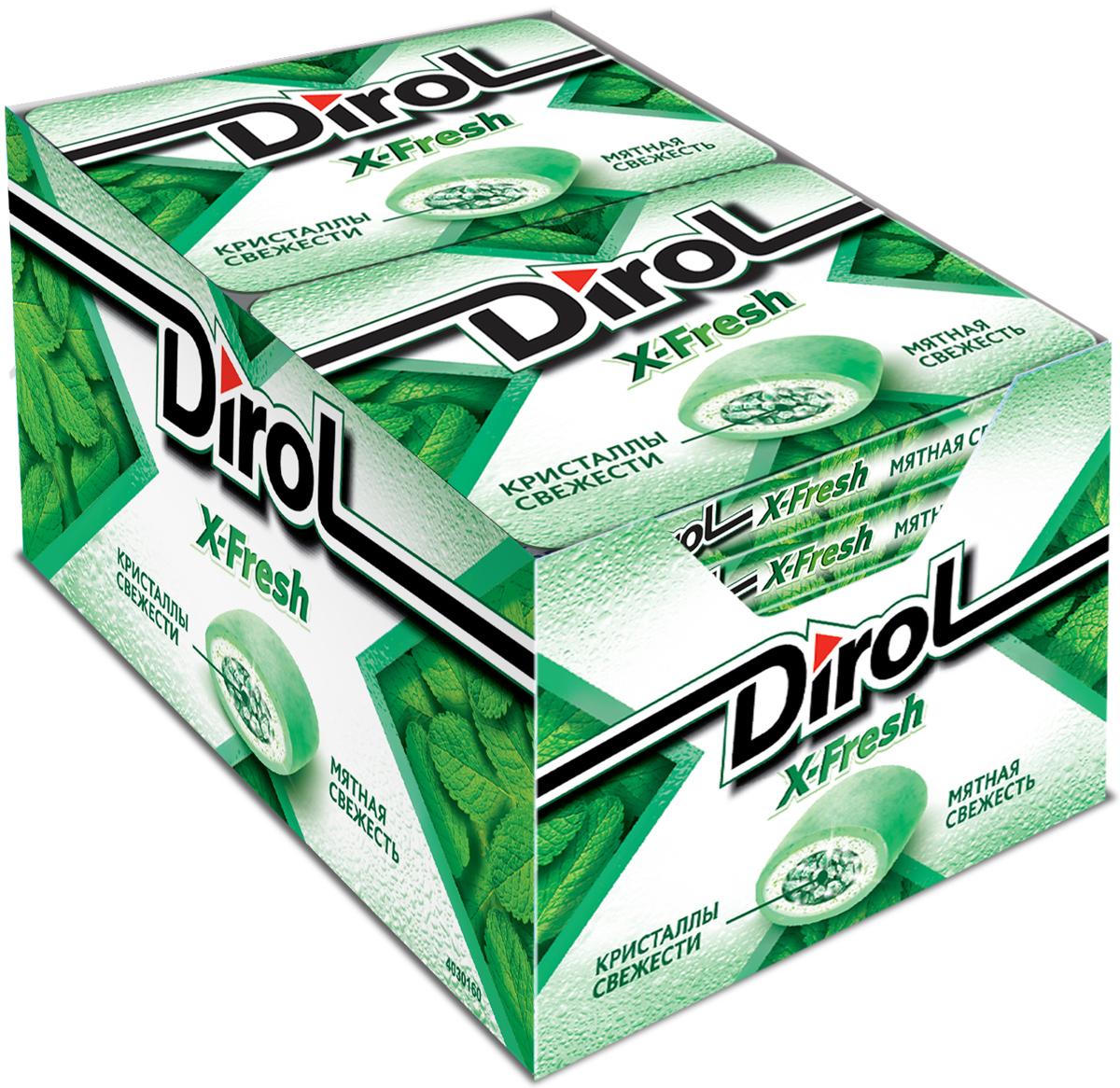 """Dirol X-Fresh Жевательная резинка """"Мятная Свежесть"""" без сахара, 12 пачек по 16 г 976071, 0972602, 0645865, 0671352"""