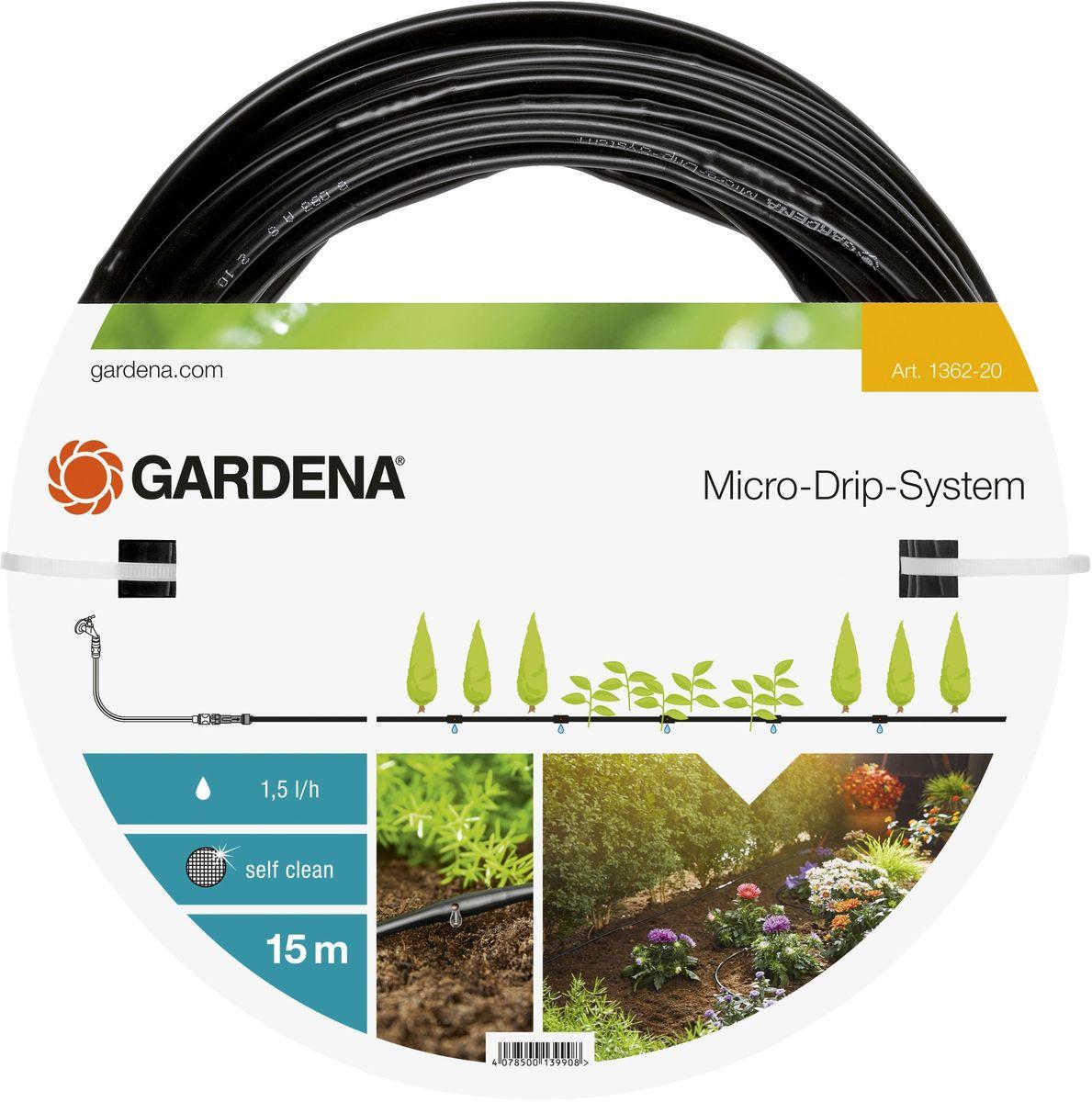 OZON.ru01362-20.000.00Шланг сочащийся GARDENA предназначен для полива небольших участков с цветами или овощами, а также для полива посаженных в ряд растений. Расстояние между отверстиями составляет 30 см. Каждая капельница обеспечивает бережный полив с расходом воды 1,5 л/ч. Благодаря использованию инновационной лабиринтной технологии, капельницы являются самоочищающимися. Благодаря небольшому диаметру 4,6 мм (3/16 дюйма) шланг характеризуется особой многофункциональностью и простотой монтажа. При помещении мастер-блока в центре с помощью такого шланга можно увеличить длину базового комплекта арт. 1361-20, максимальная длина шланга при этом составит 30 м. Шланг сочащийся имеет длину 15 м и поставляется без соединительных элементов.