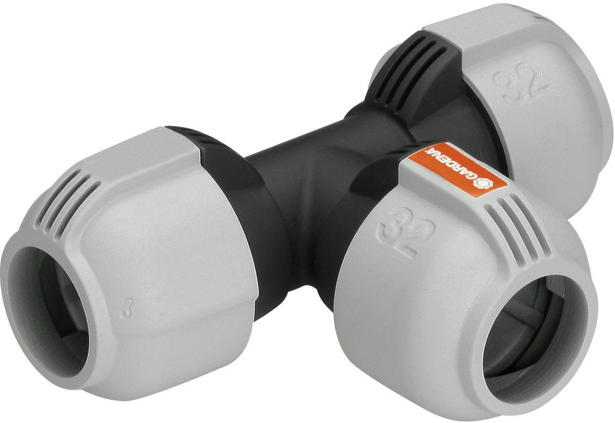 """Соединитель Gardena, Т-образный 32 мм. 02772-20.000.0002772-20.000.00для ссоединения труб. """"Quick & Easy"""" - технология легкого и быстрого соединения."""