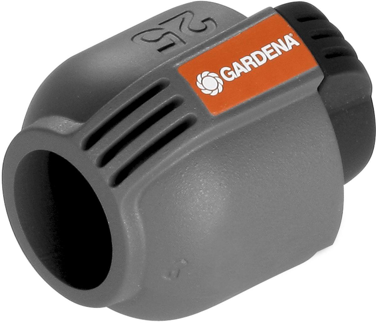 Заглушка Gardena, 25 мм. 02778-20.000.0002778-20.000.00Заглушка GARDENA 25 мм, входящая в систему дождевания GARDENA Sprinklersystem, предназначена для безопасного замыкания подающего шланга. Благодаря запатентованной технологии простого соединения Quick & Easy (Быстро и просто) соединение/разъединение труб осуществляется без инструментов, простым поворотом резьбового фитинга на 140°