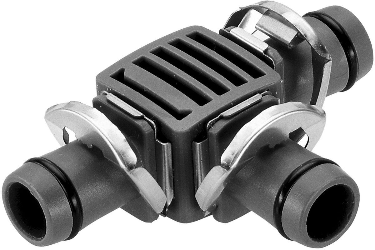 Соединитель Gardena, Т-образный 13 мм (1/2), 2 шт. 08329-29.000.0008329-29.000.00Соединитель Т-образный GARDENA является элементом системы микрокапельного полива GARDENA Micro-Drip-System и предназначен для разделения магистрального шланга на несколько линий. Благодаря патентованной технологии быстрого подсоединения Quick & Easy, установка соединителя чрезвычайно проста. В комплект поставки входят два Т-образных соединителя.