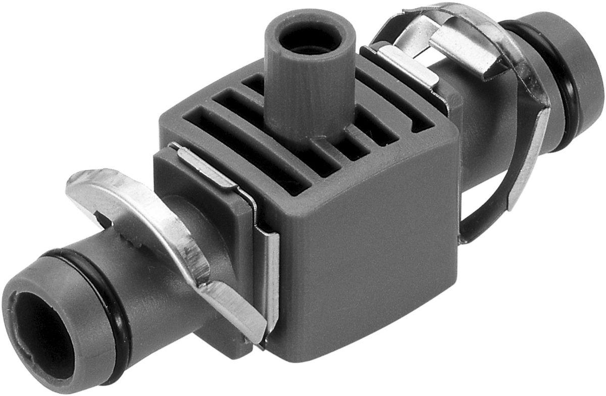 Соединитель Gardena, T-образный для микронасадок 13 мм (5 шт. 08331-29.000.0008331-29.000.00Соединитель Т-образный для микронасадок GARDENA является элементом системы микрокапельного полива GARDENA Micro-Drip-System и предназначен для крепления микронасадок на магистральном шланге диаметром 13 мм (1/2 дюйма). Для установки соединителя требуется направляющая (арт. 8328-20) или крепления (арт. 8380-20) Соединитель оптимально подходит для удлинения микронасадок при использовании надставки (арт. 1377-20). Благодаря патентованной технологии быстрого подсоединения Quick & Easy, крепление соединителя к магистральному шлангу диаметром 13 мм (1/2 дюйма) выполняется чрезвычайно просто. В комплект поставки входят пять Т-образных соединителей и одна заглушка.
