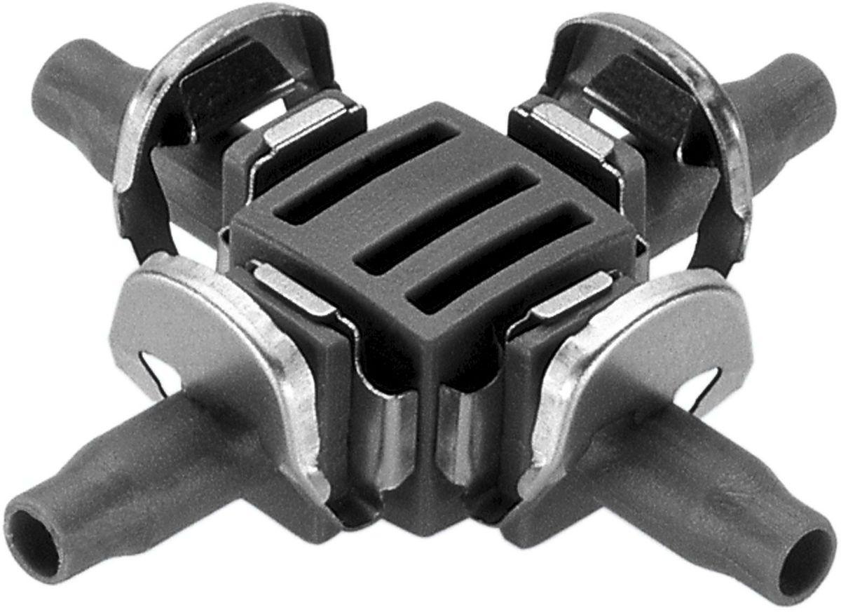 Крестовина Gardena, 4.6 мм (3/16), 10 шт. 08334-29.000.0008334-29.000.00Крестовина GARDENA является элементом системы микрокапельного полива GARDENA Micro-Drip-System и предназначена для разделения подающего шланга на несколько линий. Благодаря патентованной технологии быстрого подсоединения Quick & Easy, установка крестовины чрезвычайно проста. В комплект поставки входят десять крестовин.
