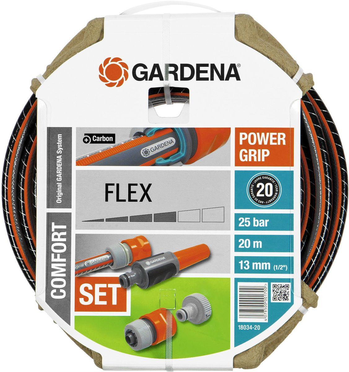 Шланг Gardena Flex 9x9, 1/2 х 20 м, комплект. 18034-20.000.0018034-20.000.00В комплект входит Шланг GARDENA FLEX и необходимые фитинги. Профиль Power Grip для идеального соединения с коннекторами Базовой системы полива. Благодаря двум переплетающимся нитям, шланг стал устойчивее к высокому давлению и сохранению формы. Шланг не содержит фталаты и тяжелые металлы, и невосприимчив к УФ-излучению. Толстые стенки шланга обеспечивают длительный срок службы и безопасность использования. Состав набора: 1 х Штуцер резьбовой, 1 х Адаптер, 1 х Коннектор стандартный, 1 х Коннектор с автостопом и наконечник для полива. 1/220м