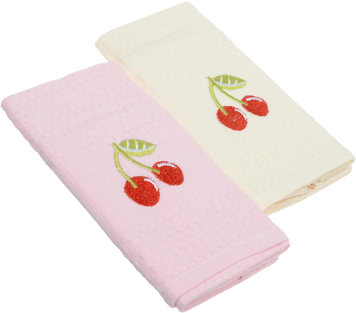 Набор кухонных полотенец Karna Jolly. Juice Multifruit. Вишенки, 40 х 60 см, 2 шт2041/CHAR003_розовый, молочныйНабор Karna Jolly. Juice Multifruit состоит из 2 прямоугольных полотенец, которые выполнены из высококачественного хлопка и украшены вышивкой. Изделия гипоаллергенны, отлично впитывают влагу, быстро сохнут, сохраняют цвет и не теряют форму даже после многократных стирок. Такие полотенца очень практичны и неприхотливы в уходе. Набор Karna станет отличным помощником и украсит интерьер вашей кухни, а также послужит приятным презентом для близких и родных. Набор упакован в картонную подарочную сумочку.