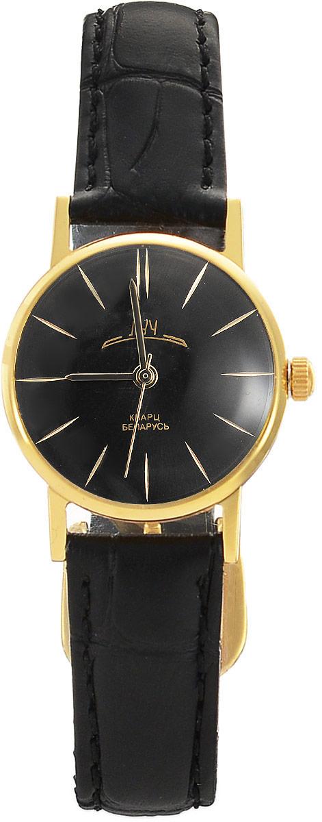 Наручные часы женские Луч Ретро, цвет: черный, золотистый. 7171836571718365Элегантные женские кварцевые часы в ретро стилистике Луч Ретро с японским механизмом Miyota не оставят равнодушным. Круглый циферблат, прикрытый органическим стеклом имеет покрытие из твёрдого золота. Ремешок выполнен из натуральной кожи. Часы выдерживают воздействие многократных ударов с ускорением 150м/с при длительности ударов от 2 до 15 м/с. Продолжительность непрерывной работы 12 месяцев.