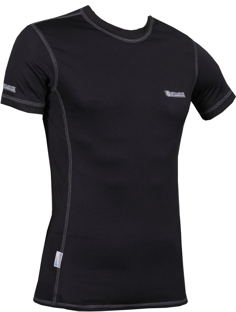 Термофутболка Starks T-Shirt Coolmax, мужская, с коротким рукавом, цвет: черный. Размер XLЛЦ0037_XL_мужКомбинированная, Охлаждающая футболка из запатентованного материала COOLMAX c анатомическим кроем. Высокая степень охлаждения тела, выведения влаги. Технология «плоских» швов, предохраняет кожу от натирания и гарантирует комфорт. Вставки из ткани Coolmax Extreme в потонагруженных местах (подмышки) обеспечат максимальную терморегуляцию и охлаждение