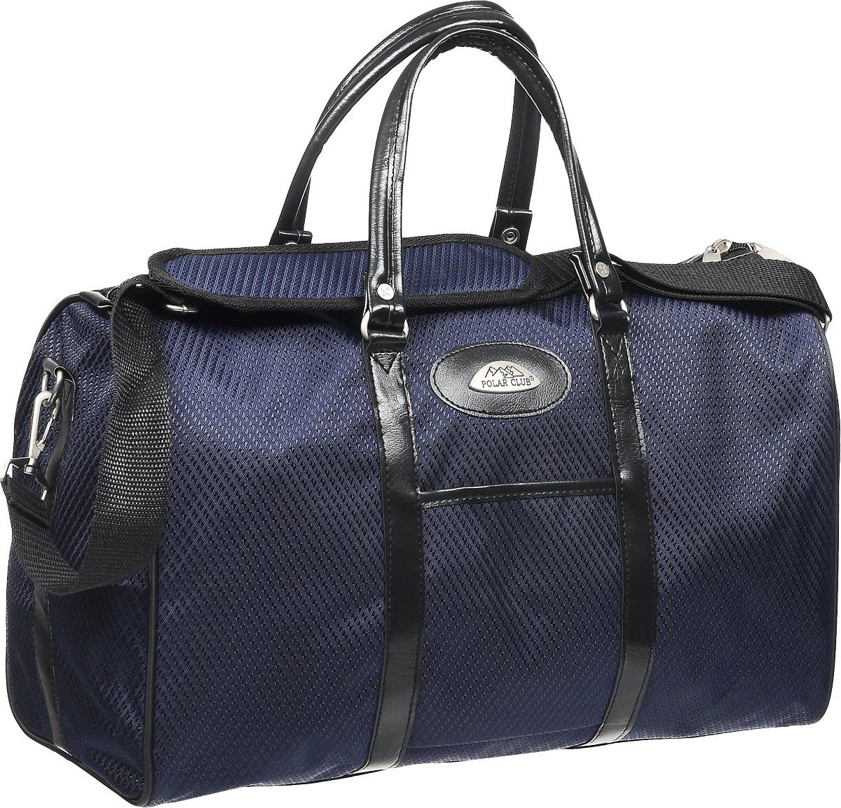 Сумка дорожная Polar, цвет: темно-синий, черный, 18,5 л. 6096.26096.2Дорожная сумка Polar выполнена из полиэстера с добавлением нейлона и вставками из экокожы. Сумка имеет одно вместительное отделение, закрывающееся на молнию с двумя бегунками. Внутри один накладной карман для ноутбука или планшета. Снаружи, на лицевой стороне изделия, расположен один накладной карман. Сумка оснащена уплотненным дном с пластиковыми ножками и двумя практичными ручками для переноски. В комплекте к изделию идет съемный плечевой ремень.