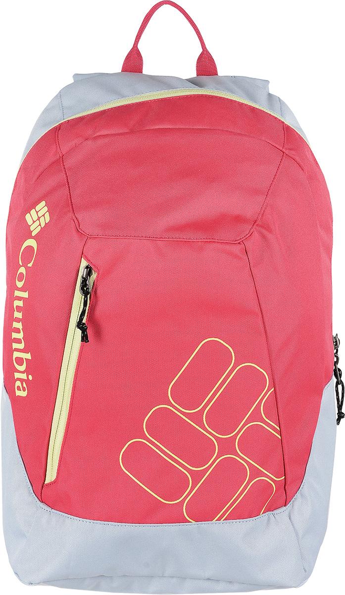 Рюкзак женский Columbia Quickdraw Daypack, цвет: розовый, светло-серый. 1587591-0311587591-031Стильный городской женский рюкзак Columbia Quickdraw Daypack выполнен из плотного полиэстера. Изделие имеет одно основное отделение, которое закрывается на застежку-молнию. Снаружи, на передней стенке расположен небольшой втачной карман на застежке-молнии. Рюкзак оснащен широкими мягкими регулирующими лямками и удобной ручкой для переноски в руках. Уплотненная мягкая спинка обеспечивает комфорт во время носки. Рюкзак оформлен надписью бренда.