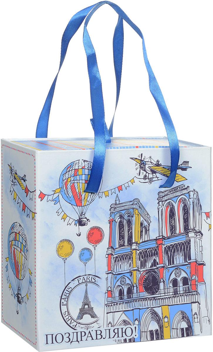 Коробка подарочная Magic Home Нотр-Дам, квадратная, 16 х 16 х 8 см44282Подарочная коробка Magic Home Нотр-Дам выполнена из мелованного ламинированного картона. Коробочка оформлена оригинальным ярким рисунком. Изделие имеет квадратную форму и состоит из двух частей, одна из которых вставляется в другую. Внутренняя часть дополнена текстильной петлей, внешняя - длинными ручками. С двух сторон на коробке имеется надпись Поздравляю!. Подарочная коробка - это наилучшее решение, если вы хотите порадовать близких людей и создать праздничное настроение, ведь подарок, преподнесенный в оригинальной упаковке, всегда будет самым эффектным и запоминающимся. Окружите близких людей вниманием и заботой, вручив презент в нарядном, праздничном оформлении. Плотность картона: 1100 г/м2.