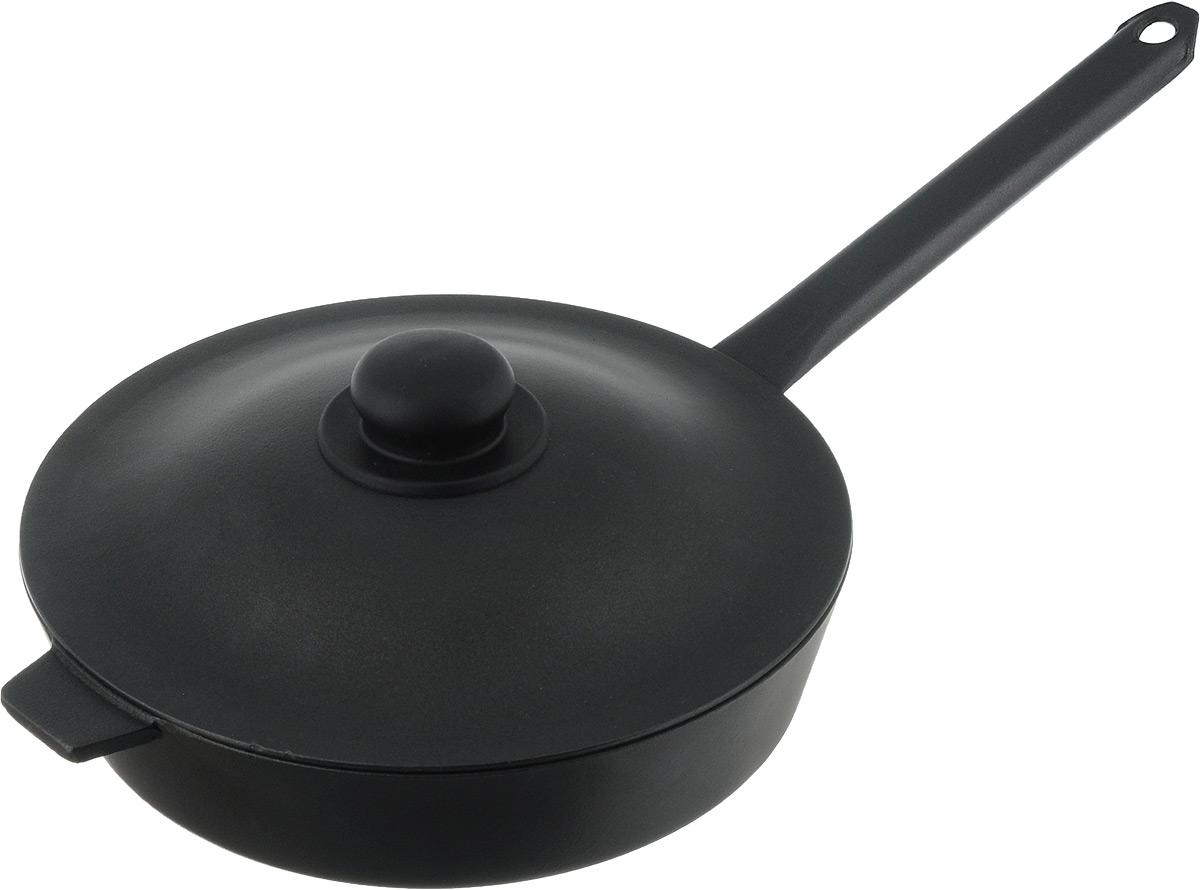 Сковорода Алита Хозяюшка с крышкой, с антипригарным покрытием. Диаметр 26 см17601Сковорода Алита Хозяюшка изготовлена из литого алюминия с внутренним антипригарным покрытием. Благодаря этому пища не пригорает и не прилипает к стенкам. Готовить можно с минимальным количеством масла и жиров. Гладкая поверхность обеспечивает легкость ухода за посудой. Сковорода оснащена крышкой, выполненной из алюминия. Подходит для использования на всех типах плит, кроме индукционных. Диаметр сковороды (по верхнему краю): 26 см. Высота стенки: 6 см. Длина ручки: 23 см.