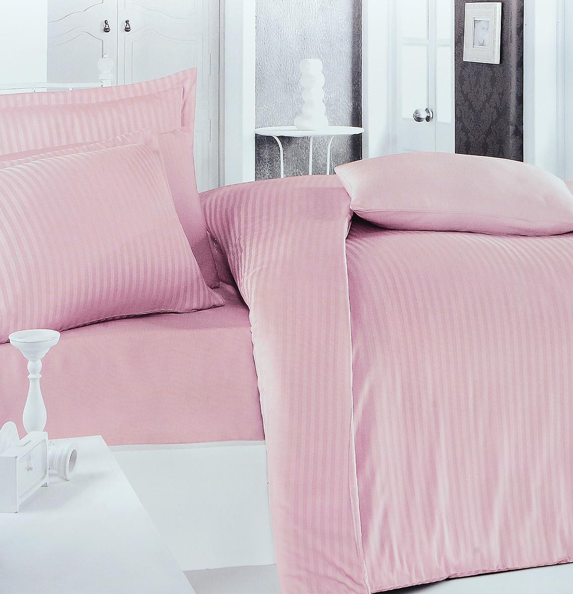 Комплект белья Clasy Stripe Satin, евро, наволочки 50х70, цвет: розовый00000005236Комплект постельного белья Clasy Stripe Satin состоит из пододеяльника на пуговицах, простыни и 4 наволочек (2 стандартные и 2 с ушками). Изделия выполнены из страйп- сатина (100% хлопок). Страйп-сатин - это очень прочная жаккардовая ткань из 100% хлопка. На вид он напоминает обычный сатин, но с полосками, которые появляются благодаря разному направлению нитей в ткани. Страйп-сатин универсален: он подойдет к любому интерьеру, прослужит вам долго, а рисунок никогда не поблекнет. Из страйп-сатина делают элитное постельное белье, по всем качествам его можно сравнить с самыми дорогими образцами хлопкового белья. Ткань гладкая и имеет ровный матовый блеск. Секрет заключается в особенно плотном сатиновом переплетении. Несмотря на особую плотность, это постельное белье очень мягкое, спать на нем уютно и тепло. Ткань обладает отличными гигиеническими свойствами - гигроскопичностью, воздухопроницаемостью и гипоаллергенностью. Страйп- сатин неприхотлив...