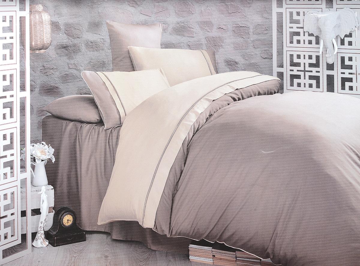 Комплект белья Clasy Kharma, евро, наволочки 50х70, цвет: бежевый, тауп00000005246Комплект постельного белья Clasy Kharma состоит из пододеяльника на пуговицах, простыни и 4 наволочек. Белье выполнено в двухцветном дизайне и декорировано контрастным кантом. Изделия выполнены из сатина (100% хлопок). Ткань гладкая и имеет ровный матовый блеск. Секрет заключается в особенно плотном сатиновом переплетении. Несмотря на особую плотность, это постельное белье очень мягкое, спать на нем уютно и тепло. Ткань обладает отличными гигиеническими свойствами - гигроскопичностью, воздухопроницаемостью и гипоаллергенностью. Краска на сатине держится очень хорошо, новое белье не полиняет и со временем не станет выцветать. Такой комплект прослужит дольше любого другого хлопкового белья. Благодаря диагональному пересечению нитей ткань почти не мнется. В производстве белья используются только качественные безопасные импортные красители, которые не содержат вредных химических веществ и позволяют сохранить яркость красок после многократных стирок. Белье упаковано в...