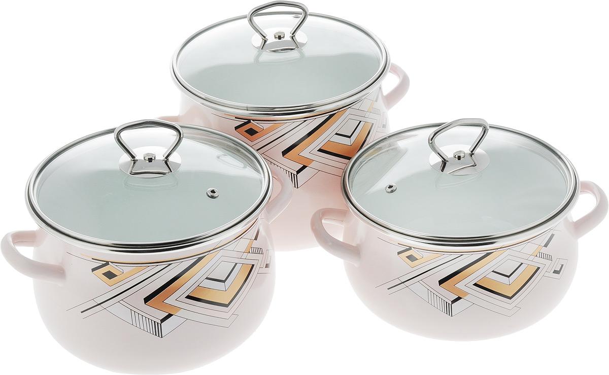 Набор посуды Эмаль Пирамида. 5-315/65-315/6
