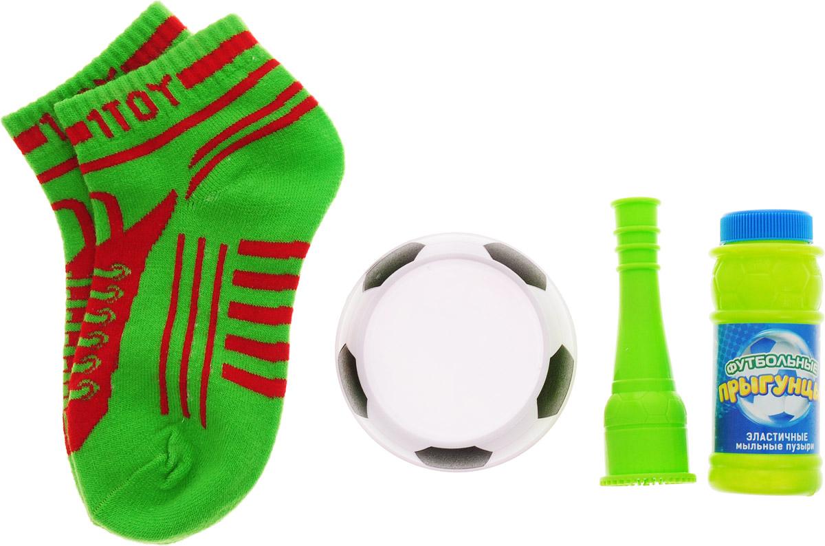 1TOY Мыльные пузыри Футбольные прыгунцы цвет носков зеленый 80 мл Т59341_носки зеленые