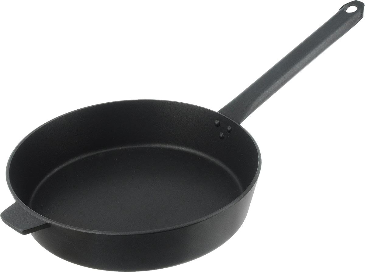 Сковорода Алита Хозяюшка с антипригарным покрытием. Диаметр 26 см17201Сковорода Алита Хозяюшка изготовлена из литого алюминия с внутренним антипригарным покрытием. Благодаря этому пища не пригорает и не прилипает к стенкам. Готовить можно с минимальным количеством масла и жиров. Гладкая поверхность обеспечивает легкость ухода за посудой. Подходит для использования на всех типах плит, кроме индукционных. Диаметр сковороды (по верхнему краю): 26 см. Высота стенки: 5,5 см. Длина ручки: 23 см.