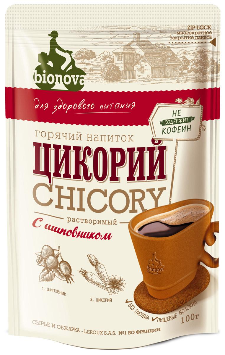 Bionova напиток из цикория с шиповником, 100 г4607013792234Горячий напиток для здорового питания, изготовленный из корней цикория, выращенных и обработанных по уникальной технологии производства компании LEROUX (Франция), и экстракта ягод шиповника. Преимущества: • Содержит экстракт шиповника, который: - богат витамином С - богат природными антиоксидантами - обладает фитонцидными и бактерицидными свойствами. • Содержит витамины и минералы • Не содержит кофеин, не повышает артериальное давление • Содержит инулин - растительное пищевое волокно (в 1 порции 48% инулина от суточной нормы), которое: - улучшает микрофлору кишечника - стимулирует рост и активность полезных бифидобактерий - улучшает усвоение организмом кальция • Рекомендуемая Институтом Питания РАМН величина суточного потребления инулина составляет 2,5 г, что соответствует 6 чайным ложкам цикория BIONOVА • Не содержит ГМО • Без глютена