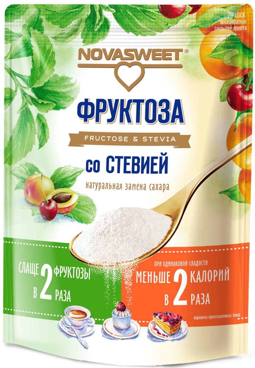 Novasweet фруктоза со стевией, 250 г4607013792760Подходит для ежедневного применения в рационах питания, направленных на снижение потребления сахара. -100% натуральный продукт -не содержит ГМО -слаще обычной фруктозы -не вызывает резкого повышения уровня глюкозы в крови человека, так как гликемический индекс фруктозы всего 19 единиц, гликемический индекс стевии равен 0. -снижает калорийность блюд при одинаковой сладости -рекомендована для диетического и диабетического питания.