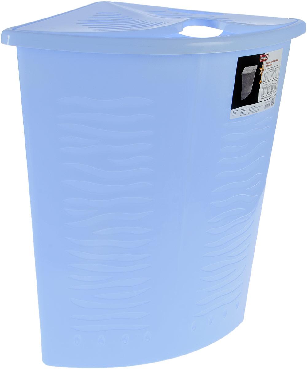 Корзина для белья BranQ Aqua, угловая, цвет: голубой, 40 лBQ1700ГЛПУгловая корзина для белья BranQ Aqua изготовлена из прочного полипропилена и оформлена перфорированными отверстиями, благодаря которым обеспечивается естественная вентиляция. Изделие идеально подходит для небольших ванных комнат. Корзина оснащена крышкой и ручкой для переноски. На крышке имеется выемка для удобного открывания крышки. Такая корзина для белья прекрасно впишется в интерьер ванной комнаты.