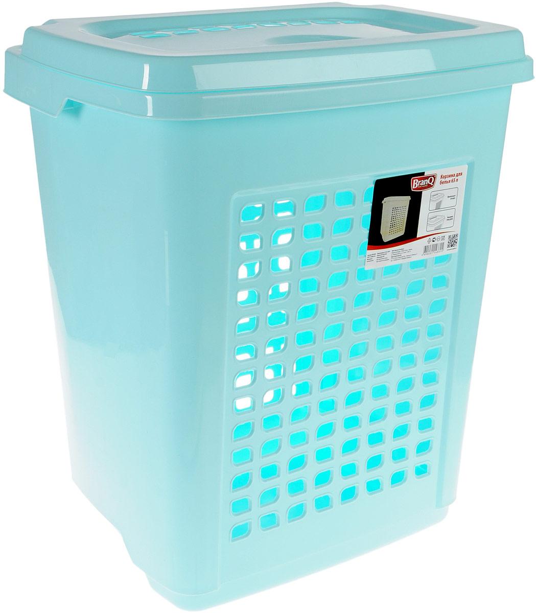 Корзина для белья BranQ, цвет: бирюзовый, 65 лBQ1694БРЗКорзина для белья BranQ изготовлена из прочного пластика и оформлена перфорированными отверстиями, благодаря которым обеспечивается естественная вентиляция. Корзина оснащена крышкой, на которой имеется выемка для удобного открывания. Такая корзина для белья прекрасно впишется в интерьер ванной комнаты.