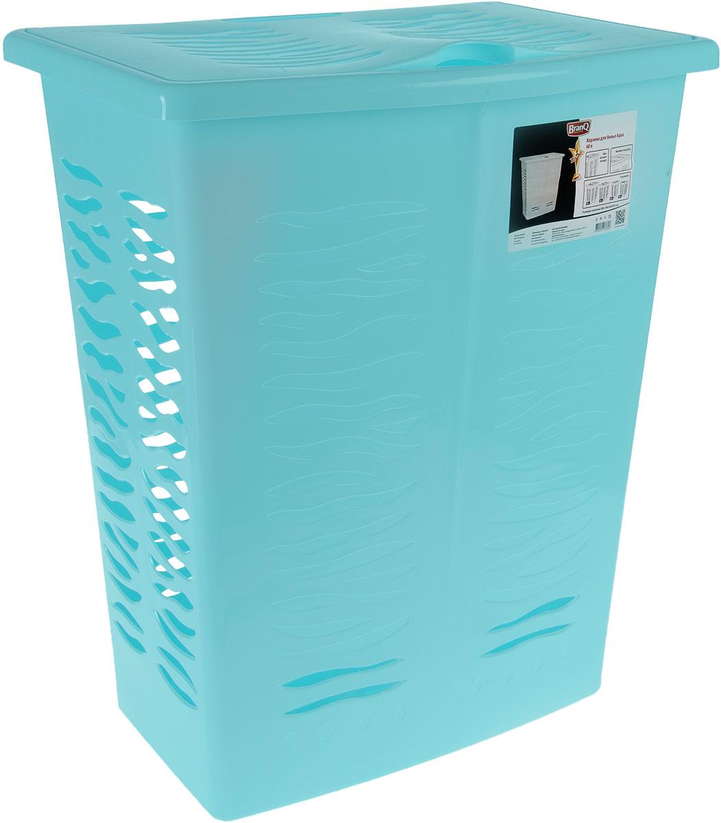 Корзина для белья BranQ Aqua, цвет: бирюзовый, 60 лBQ1708БРЗКорзина для белья BranQ Aqua изготовлена из прочного полипропилена и оформлена перфорированными отверстиями, благодаря которым обеспечивается естественная вентиляция. Корзина оснащена крышкой и ручкой для переноски. На крышке имеется выемка для удобного открывания крышки. Такая корзина для белья прекрасно впишется в интерьер ванной комнаты.