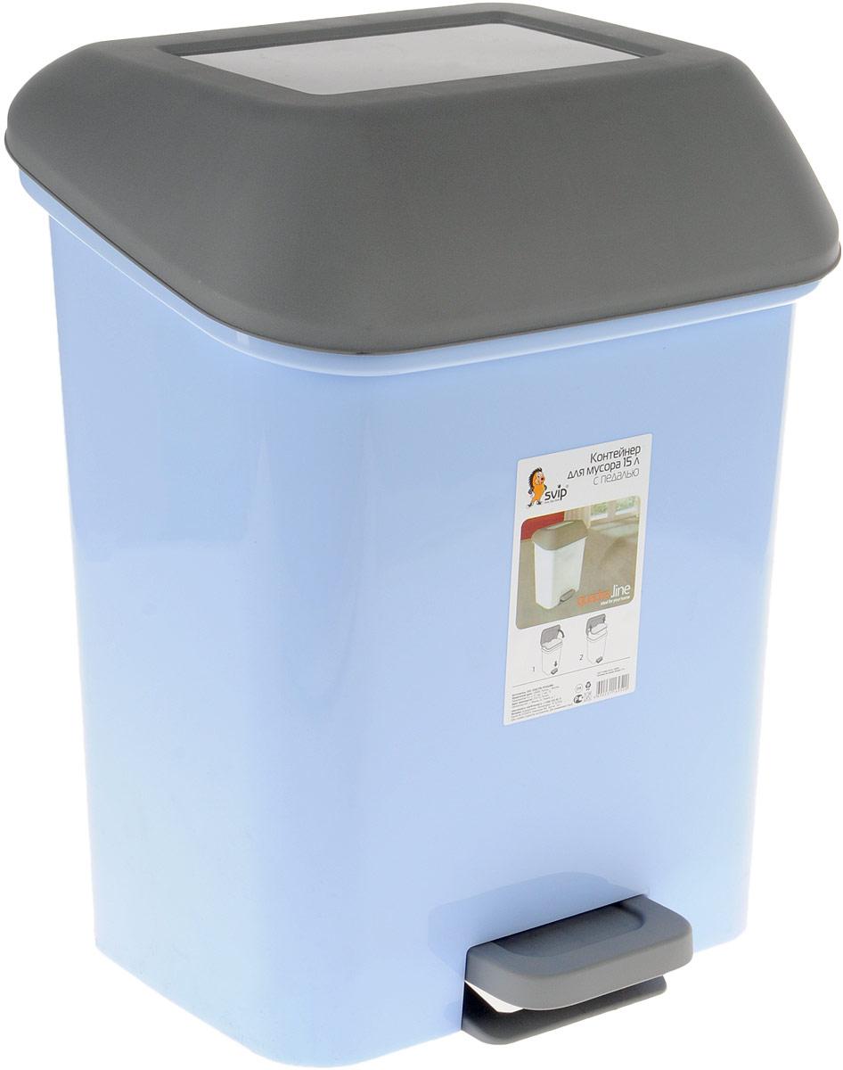 Контейнер для мусора с педалью Svip Квадра, с педалью, цвет: голубой, серый. 15 лSV4061ГЛП_голубой/серыйМусорный контейнер Svip Квадра поможет поддержать порядок и чистоту на кухне, в туалетной комнате или в офисе. Изделие, выполненное из полипропилена, не боится ударов и долгих лет использования. Практичный контейнер для мусора оснащен удобной педалью, с помощью которой можно открыть крышку. Изделие оснащено внутренним ведром-вставкой с удобными скрытыми ручками, который при необходимости можно достать из контейнера. Закрывается крышка практически бесшумно, плотно прилегает, предотвращая распространение запаха. Эстетика изделия превращает необходимый предмет кухни или туалетной комнаты в стильное дополнение к интерьеру. Его легкость и прочность оптимально решают проблему сбора мусора.