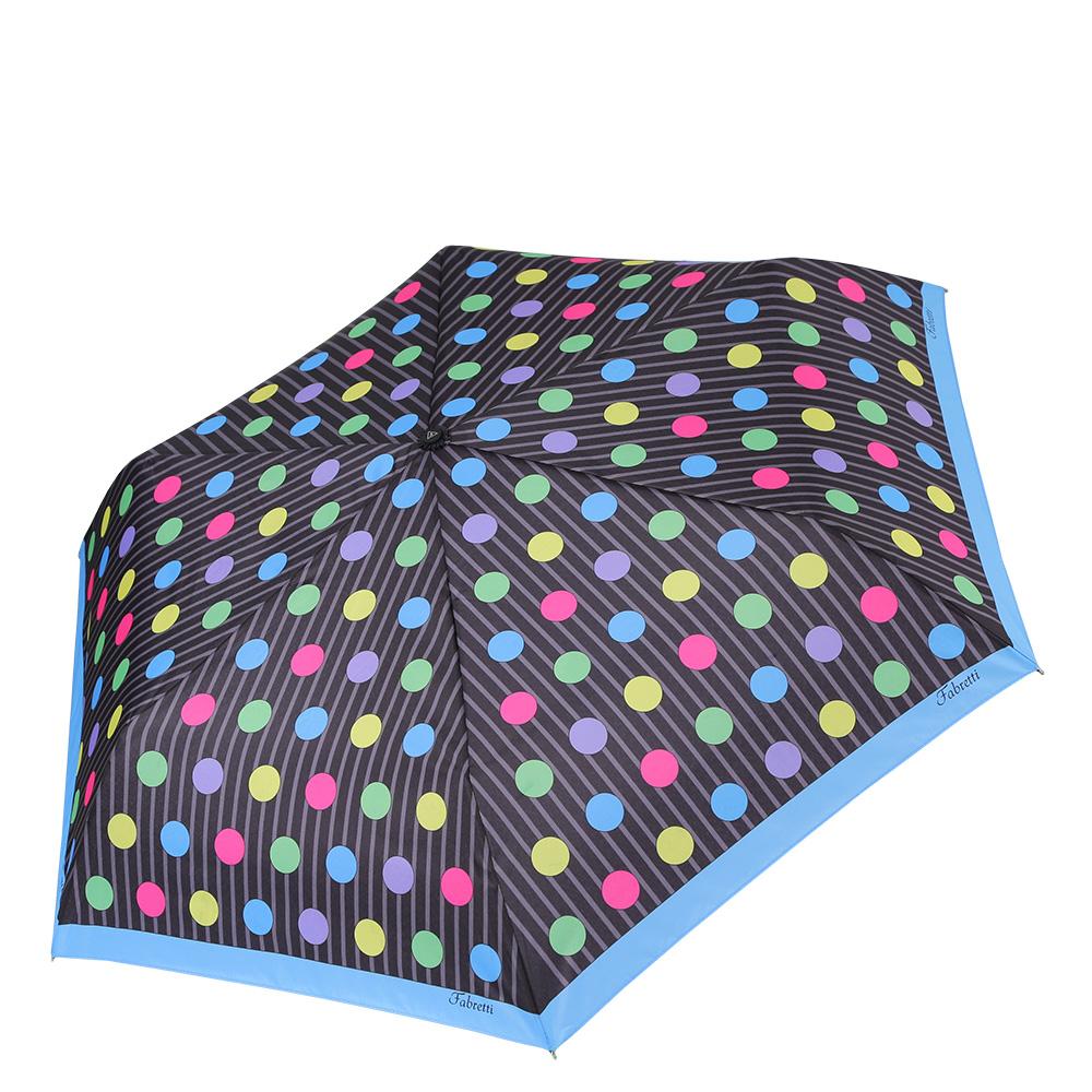 Зонт женский Fabretti, цвет: мультиколор. MX-17100-11MX-17100-11Миниатюрный женский зонт от итальянского бренда Fabretti очень легок и компактен, поэтому без труда поместится в любую женскую сумочку. Классический черный цвет и стильная серая полоска без труда дополнят любой современный образ, а яркий разноцветный принт горох подчеркнет ваш утонченный вкус. о Материал купола - эпонж, обладает высокой прочностью и износостойкостью. Вода на куполе из такого материала скатывается каплями вниз, а не впитывается, на нем практически не видны следы изгибов. Эргономичная ручка сделана из высококачественного пластика-полиуретана с противоскользящей обработкой.