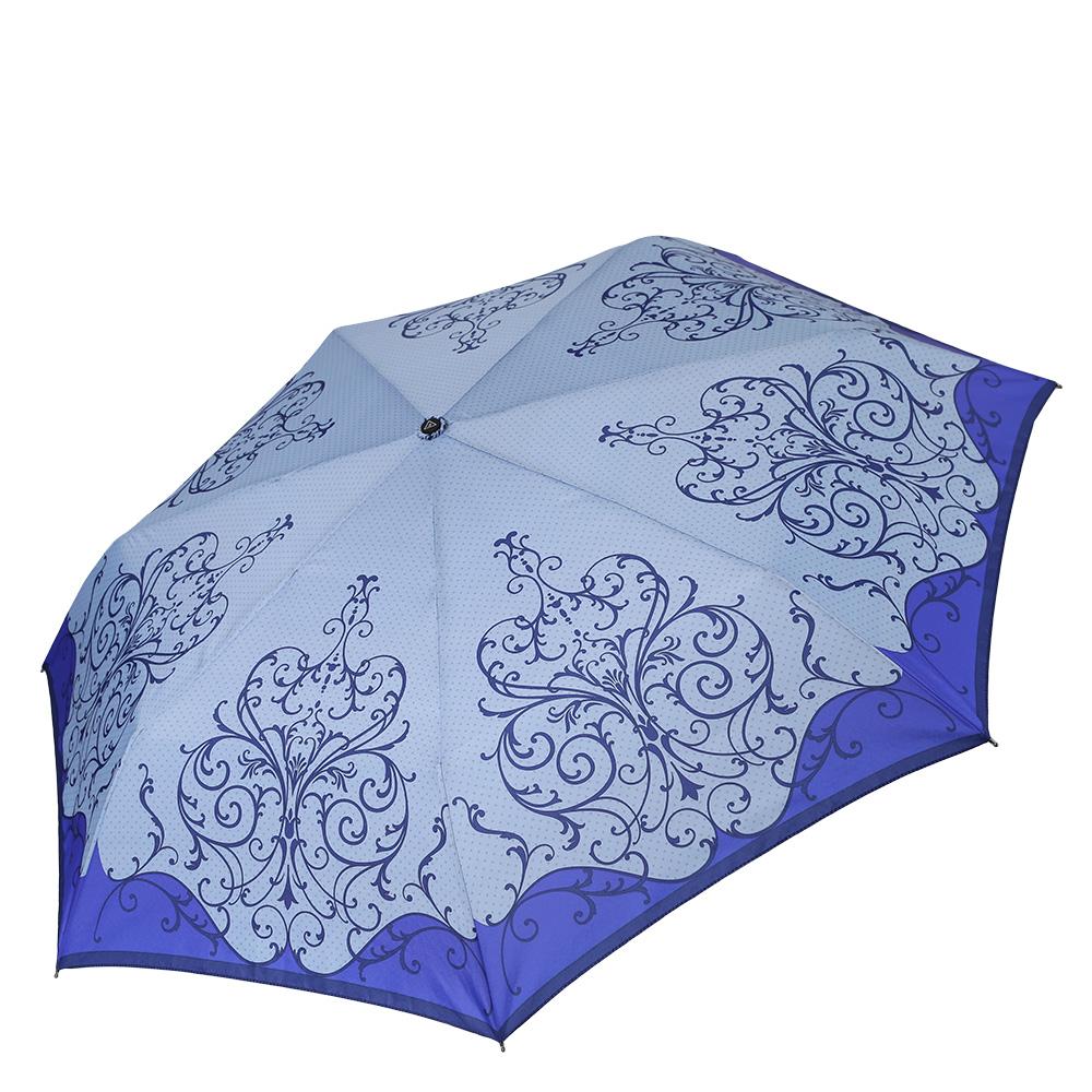 Зонт женский Fabretti, цвет: синий. P-17100-6P-17100-6Компактный женский зонт от итальянского бренда Fabretti очень легок, поэтому без труда поместится в любую женскую сумку. Нежный и элегантный сиреневый цвет и женственный принт с изображением бабочек сделают вас неотразимыми в любую непогоду! Материал купола - эпонж, обладает высокой прочностью и износостойкостью. Вода на куполе из такого материала скатывается каплями вниз, а не впитывается, на нем практически не видны следы изгибов. Эргономичная ручка сделана из высококачественного пластика-полиуретана с противоскользящей обработкой