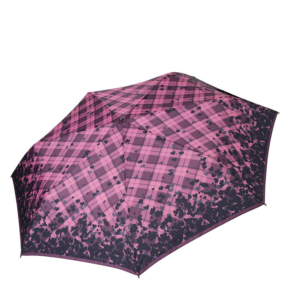 Зонт женский Fabretti, цвет: фиолетовый. P-17101-1P-17101-1Компактный женский зонт от итальянского бренда Fabretti очень легок, поэтому без труда поместится в любую женскую сумку. Изысканное сочетание розового и бардового оттеноков, классическая клетка и стильный дизайнерский принт с изображением аккуратных сердечек придадут вашему образу нотки романтичности и элегантности. Материал купола - эпонж, обладает высокой прочностью и износостойкостью. Вода на куполе из такого материала скатывается каплями вниз, а не впитывается, на нем практически не видны следы изгибов. Эргономичная ручка сделана из высококачественного пластика-полиуретана с противоскользящей обработкой.