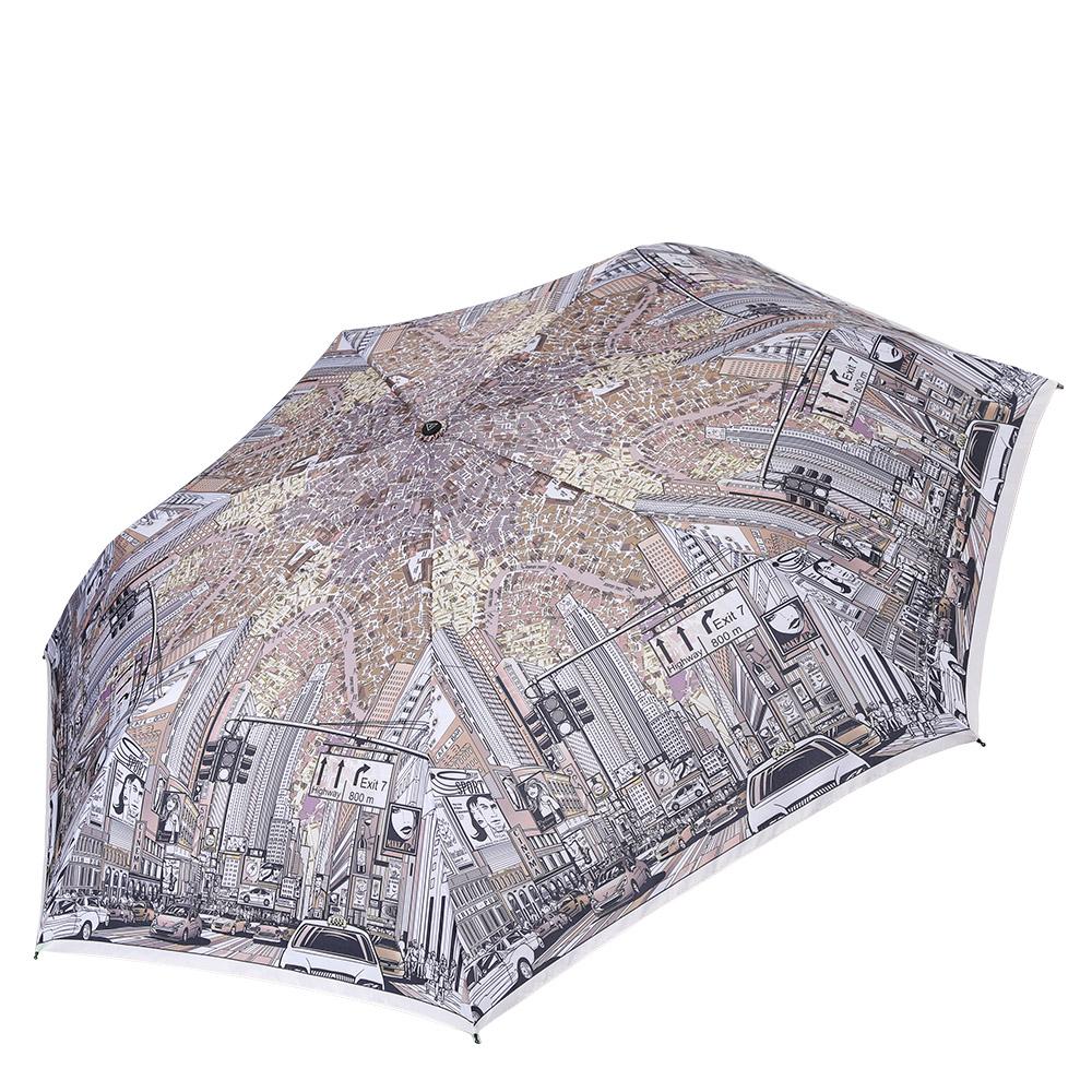 Зонт женский Fabretti, цвет: серый. P-17101-14P-17101-14Компактный женский зонт от итальянского бренда Fabretti очень легок, поэтому без труда поместится в любую женскую сумку. Изысканный серый оттенок и стильный принт с изображением городской среды, дополненный дизайнерским орнаментом, сделают вас неотразимой в любую непогоду! Материал купола - эпонж, обладает высокой прочностью и износостойкостью. Вода на куполе из такого материала скатывается каплями вниз, а не впитывается, на нем практически не видны следы изгибов. Эргономичная ручка сделана из высококачественного пластика-полиуретана с противоскользящей обработкой.