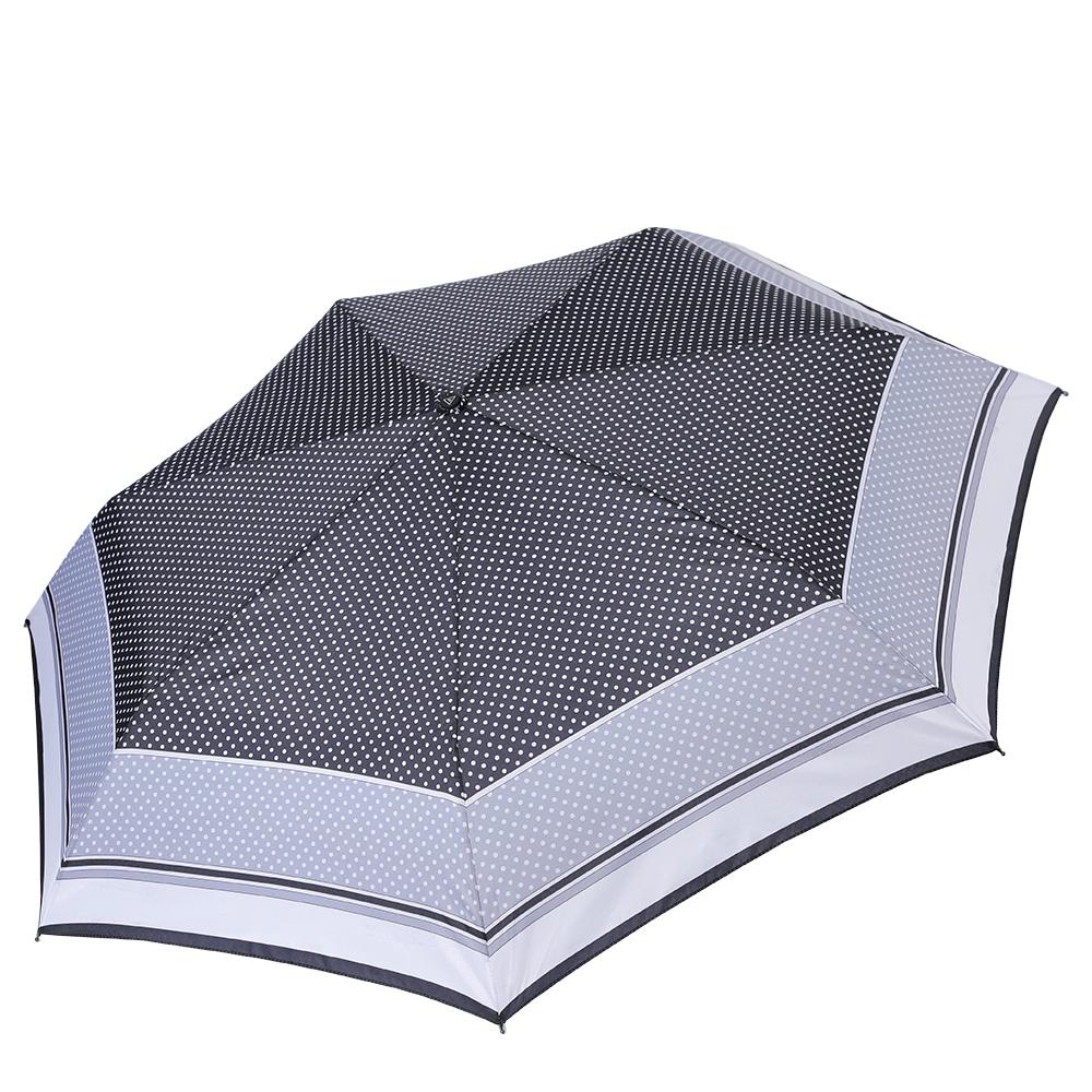 Зонт женский Fabretti, цвет: серый. P-17101-22P-17101-22Компактный зонт от итальянского бренда Fabretti очень легок, поэтому без труда поместится в любую женскую сумку.Классическое сочетание черного и белого цвета, а также стильный принт горох сделают вас неотразимой в любую непогоду! Материал купола - эпонж, обладает высокой прочностью и износостойкостью. Вода на куполе из такого материала скатывается каплями вниз, а не впитывается, на нем практически не видны следы изгибов. Эргономичная ручка сделана из высококачественного пластика-полиуретана с противоскользящей обработкой.