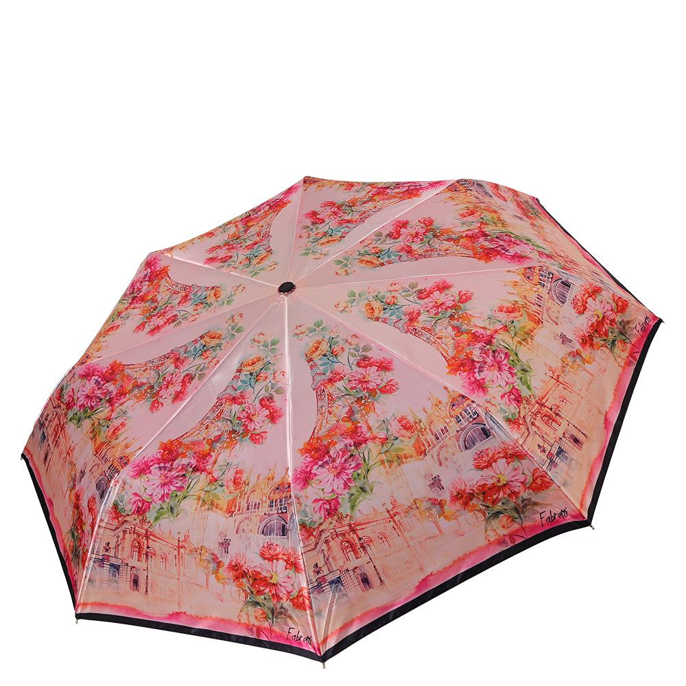 Зонт женский Fabretti, цвет: светло-розовый, мультиколор. S-17101-3S-17101-3Классический женский зонт от итальянского бренда Fabretti. Женственный розовый оттенок и дизайнерский принт, сочетающий в себе цветочный рисунок и городскую архитектуру с легкостью подчеркнут ваш вкус и сделают вас неотразимой в любую непогоду! Значительным преимуществом данной модели является система антиветер, которая позволяет выдержать сильные порывы ветра. Материал купола – полиэстер. Он невероятно изящен, приятен на ощупь, обладает высокой прочностью, а также устойчив к выцветанию. Эргономичная ручка сделана из высококачественного пластика-полиуретана с противоскользящей обработкой.