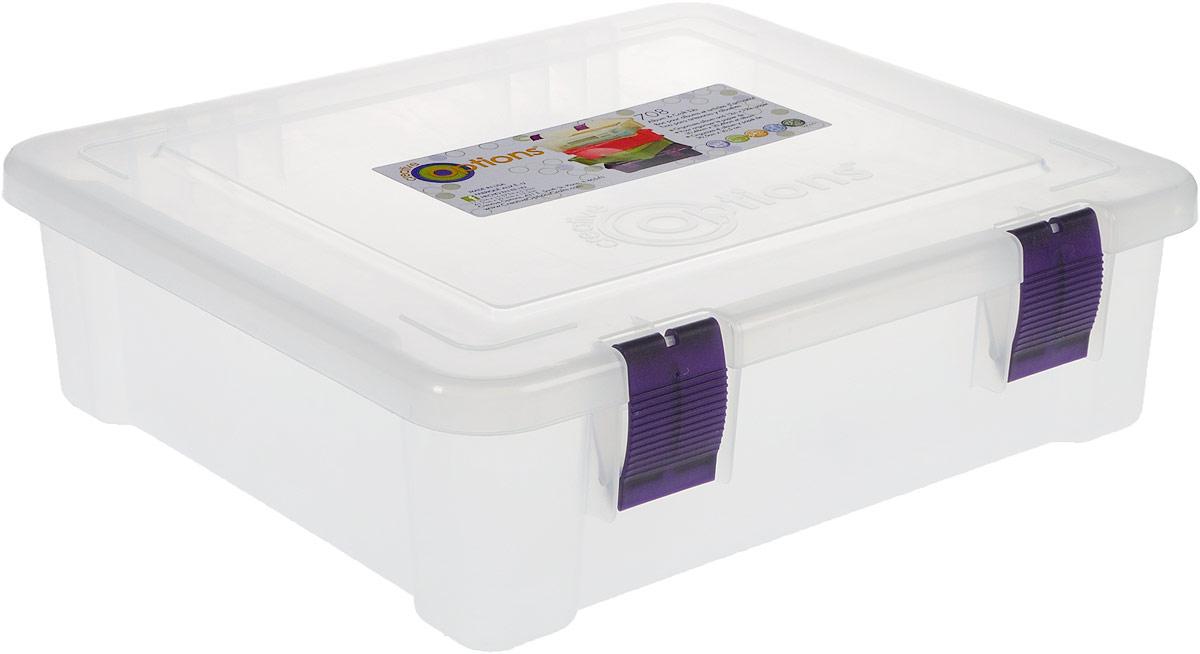 Органайзер для бумаг Creative Options, цвет: прозрачный, 43,7 х 39,2 х 13,3 см7702616Органайзер для бумаг Creative Options, изготовленный из прочного пластика, предназначен для хранения бумаг форматом А4. Большой размер и вместительность делает органайзер универсальным: в нем также можно хранить различные принадлежности и мелочи. Крышка плотно закрывается на два замка-защелки. Такой органайзер поможет держать бумаги и вещи в порядке.
