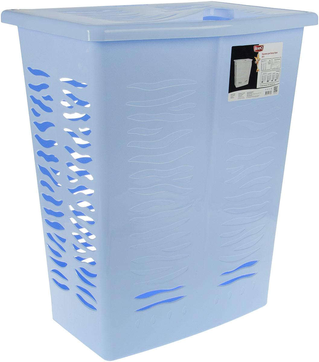 Корзина для белья BranQ Aqua, цвет: голубой, 60 лBQ1708ГЛПКорзина для белья BranQ Aqua изготовлена из прочного полипропилена и оформлена перфорированными отверстиями, благодаря которым обеспечивается естественная вентиляция. Корзина оснащена крышкой и ручкой для переноски. На крышке имеется выемка для удобного открывания крышки. Такая корзина для белья прекрасно впишется в интерьер ванной комнаты.