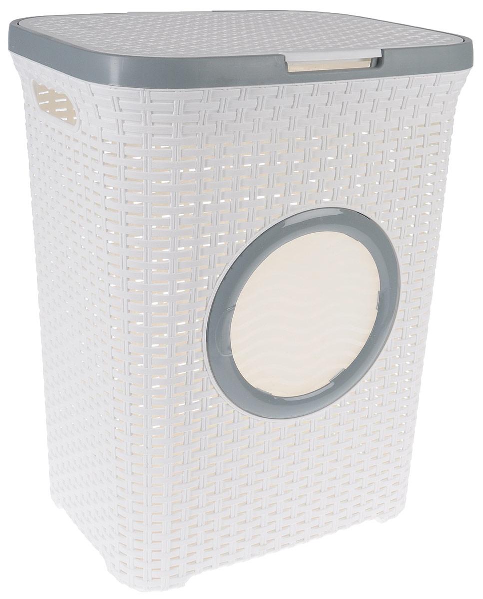 Корзина для белья Violet, с крышкой, цвет: белый, серый, 60 л1861/6_белыйВместительная корзина для белья Violet изготовлена из прочного цветного пластика и декорирована отверстием в виде иллюминатора. Она отлично подойдет для хранения белья перед стиркой. Специальные отверстия на стенках создают идеальные условия для проветривания. Изделие оснащено крышкой и двумя эргономичными ручками для переноски. Такая корзина для белья прекрасно впишется в интерьер ванной комнаты. Высота корзины: 55 см. Ширина: 35,5 см. Длина: 44 см.