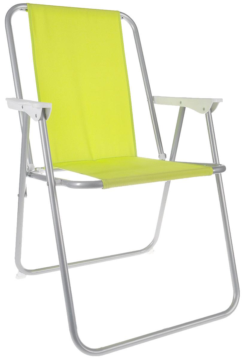 Стул складной Reka, с подлокотниками, цвет: салатовыйCК-101_салатовыйСкладной стул с подлокотниками Reka - это незаменимый предмет походной мебели, очень удобен в эксплуатации. Каркас стула выполнен из прочной стали 18 мм, материал сиденья и спинки - полиэстер. Стул легко собирается и разбирается и не занимает много места, поэтому подходит для транспортировки и хранения дома. Размер стула в разобранном виде: 78 x 54 x 46 см.