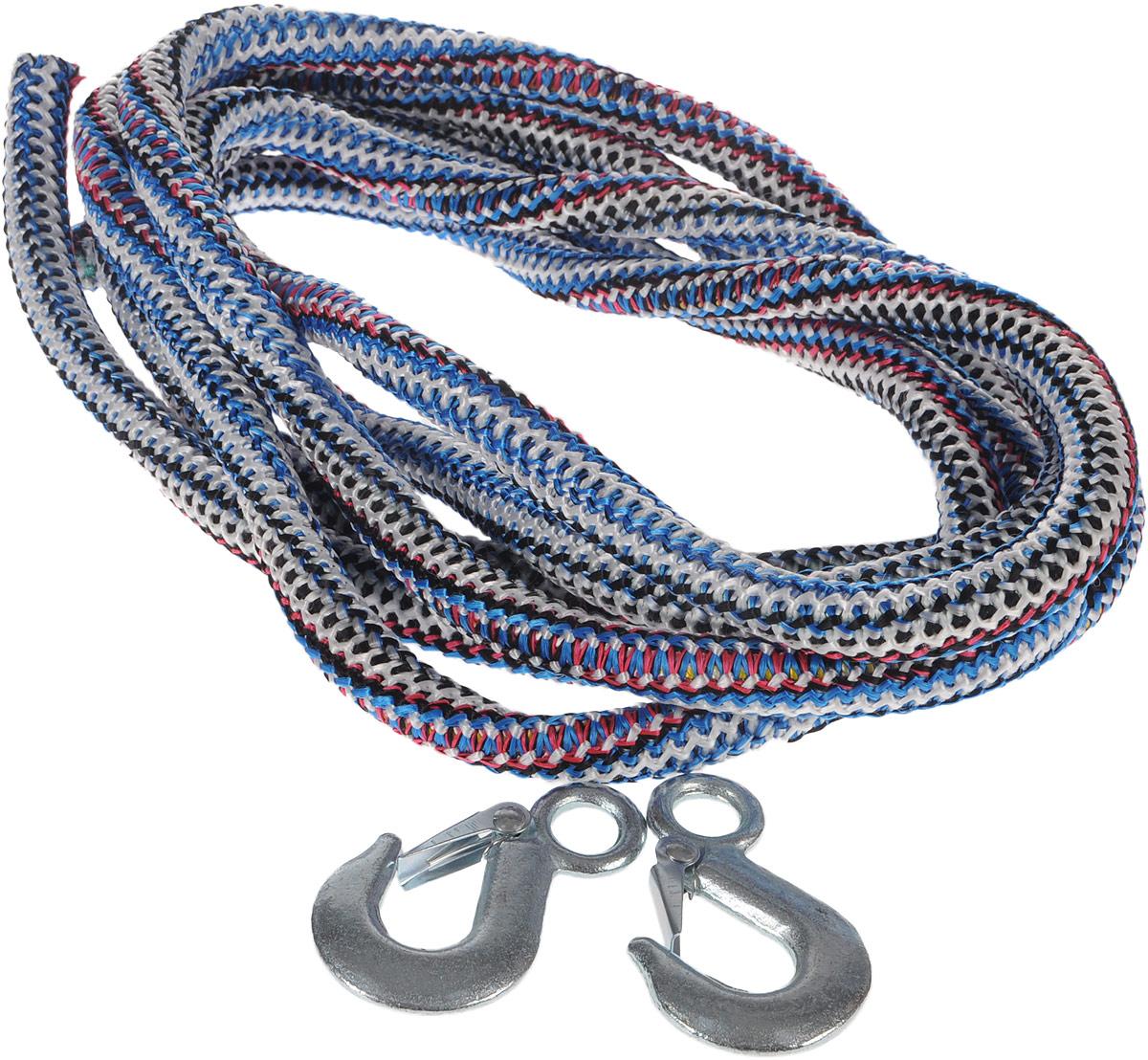 Трос буксировочный Skyway, веревочный, с 2 крюками, 12 т, 5 м. S03101011S03101011_белый, синий,красный,черныйБуксировочный трос Skyway представляет собой веревку из сверхпрочной полипропиленовой нити с двумя металлическими крюками. Специальное плетение веревки обеспечивает эластичность троса и плавный старт автомобиля при буксировке. На протяжении всего срока службы не меняет свои линейные размеры. Трос морозостойкий и влагостойкий. Длина троса соответствует ПДД РФ. Максимальная нагрузка: 12 т. Длина троса: 5 м