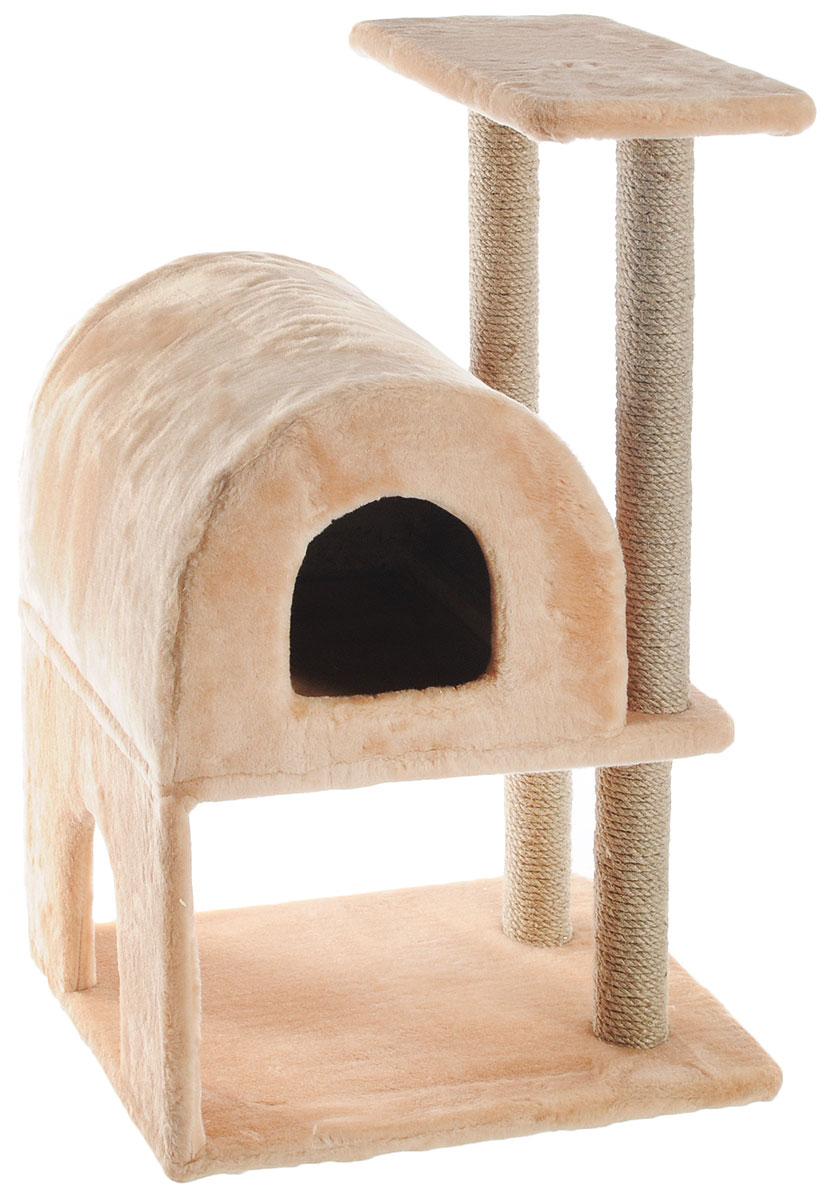 Домик-когтеточка Меридиан, полукруглый, двухэтажный, с полкой, цвет: светло-коричневый, бежевый, 55 х 40 х 85 смД521СКДомик-когтеточка Меридиан выполнен из высококачественного ДВП и ДСП и обтянут искусственным мехом. Изделие предназначено для кошек. Ваш домашний питомец будет с удовольствием точить когти о специальные столбики, изготовленные из джута. А отдохнуть он сможет либо на полке, либо в домике. Домик-когтеточка Меридиан принесет пользу не только вашему питомцу, но и вам, так как он сохранит мебель от когтей и шерсти. Общий размер: 55 х 40 х 85 см. Размер нижнего домика: 40 х 40 х 33 см. Размер полки: 40 х 25 см.