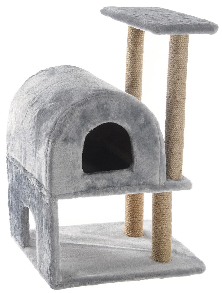 Домик-когтеточка Меридиан, полукруглый, двухэтажный, с полкой, цвет: светло-серый, бежевый, 55 х 40 х 85 смД521ССДомик-когтеточка Меридиан выполнен из высококачественного ДВП и ДСП и обтянут искусственным мехом. Изделие предназначено для кошек. Ваш домашний питомец будет с удовольствием точить когти о специальные столбики, изготовленные из джута. А отдохнуть он сможет либо на полке, либо в домике. Домик-когтеточка Меридиан принесет пользу не только вашему питомцу, но и вам, так как он сохранит мебель от когтей и шерсти. Общий размер: 55 х 40 х 85 см. Размер нижнего домика: 40 х 40 х 33 см. Размер полки: 40 х 25 см.