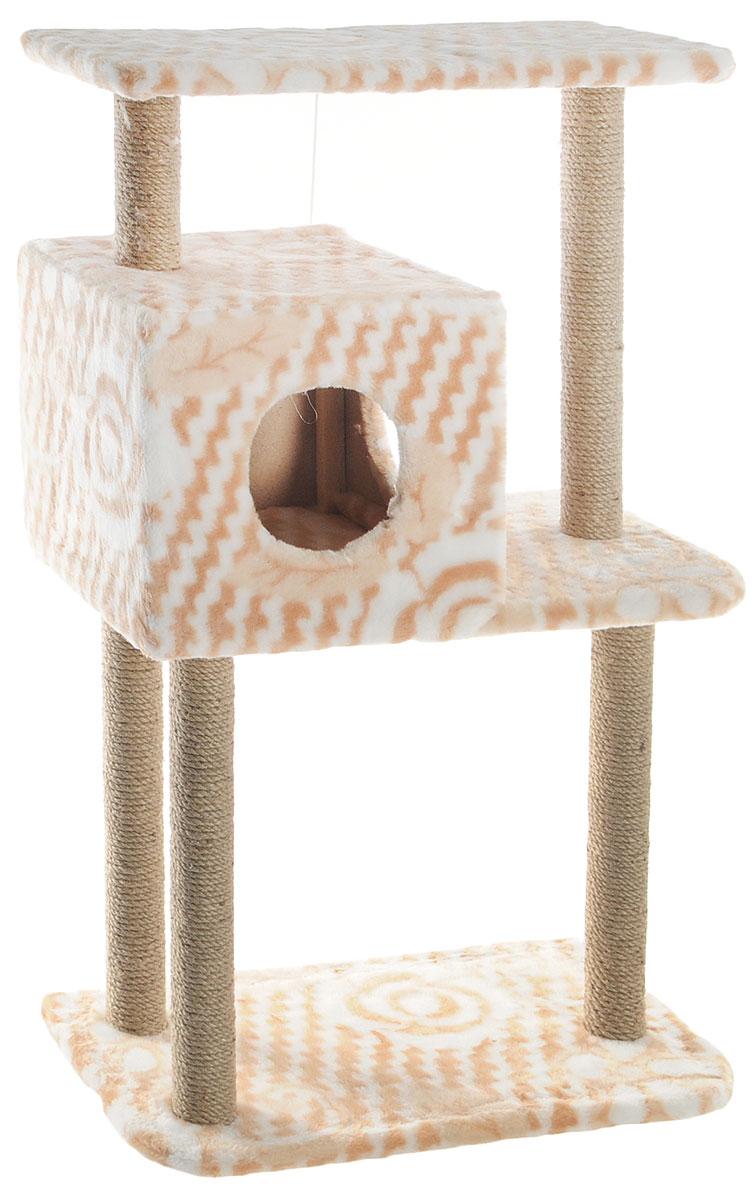 Домик-когтеточка Меридиан, квадратный, трехэтажный, с полкой, цвет: белый, бежевый, 65 х 36 х 105 смД134ЦвДомик-когтеточка Меридиан выполнен из высококачественного ДВП и ДСП и обтянут искусственным мехом. Изделие предназначено для кошек. Комплекс имеет 3 яруса. Ваш домашний питомец будет с удовольствием точить когти о специальные столбики, изготовленные из джута. А отдохнуть он сможет либо на полках, либо в расположенном вверху домике. Изделие снабжено подвесной игрушкой. Домик-когтеточка Меридиан принесет пользу не только вашему питомцу, но и вам, так как он сохранит мебель от когтей и шерсти. Общий размер: 65 х 36 х 105 см. Размер домика: 36 х 35 х 32 см. Размер верхней полки: 65 х 31 см.