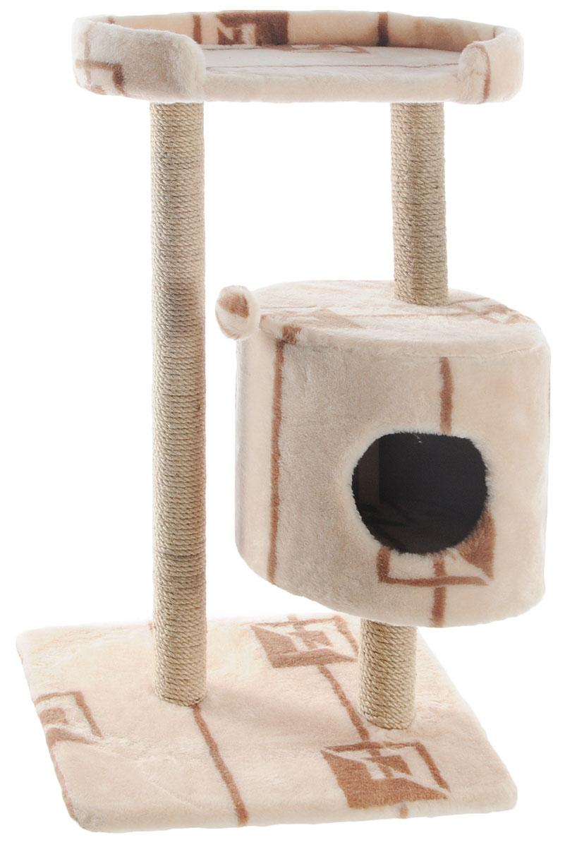 Домик-когтеточка Меридиан, круглый, с площадкой, цвет: бежевый, коричневый, 52 х 52 х 105 смД517ГДомик-когтеточка Меридиан выполнен из высококачественного ДВП и ДСП и обтянут искусственным мехом. Изделие предназначено для кошек. Ваш домашний питомец будет с удовольствием точить когти о специальные столбики, изготовленные из джута. А отдохнуть он сможет либо на полке, либо в домике. Изделие снабжено подвесной игрушкой. Домик-когтеточка Меридиан принесет пользу не только вашему питомцу, но и вам, так как он сохранит мебель от когтей и шерсти. Общий размер: 52 х 52 х 105 см. Размер домика: 35 х 35 х 32 см. Размер полки: 51 х 29 см.