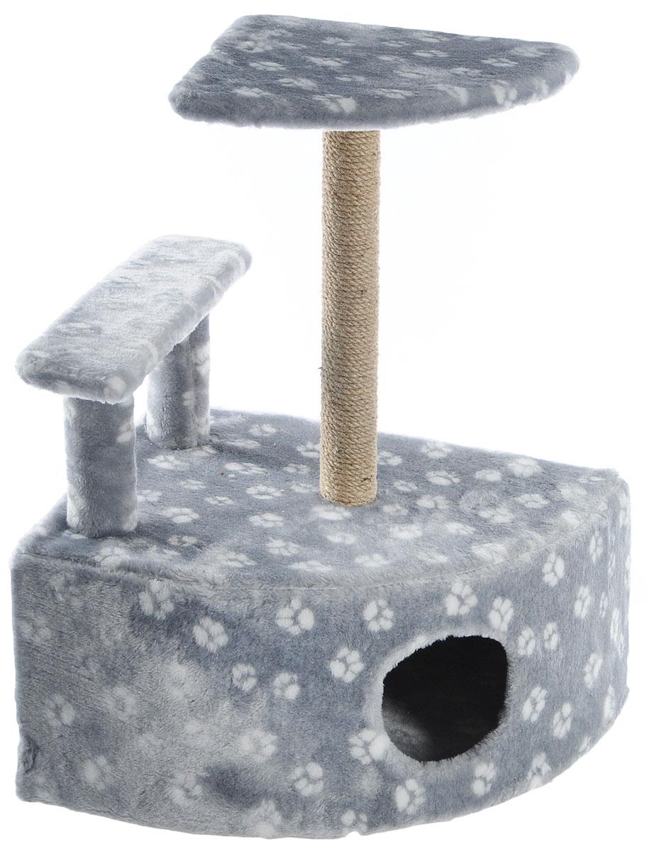 Игровой комплекс для кошек Меридиан, угловой, с домиком и когтеточкой, цвет: светло-серый, белый, бежевый, 58 х 48 х 79 смД421 Ла_светло-серый, белыйИгровой комплекс для кошек Меридиан выполнен из высококачественного ДВП и ДСП и обтянут искусственным мехом. Изделие предназначено для кошек. Комплекс оснащен ступенькой. Ваш домашний питомец будет с удовольствием точить когти о специальный столбик, изготовленный из джута. А отдохнуть он сможет либо на полке, находящейся наверху столбика, либо в расположенном внизу домике. Общий размер: 58 х 48 х 79 см. Размер полки: 37 х 37 см. Высота ступеньки: 23 см. Размер домика: 58 х 48 х 28 см.