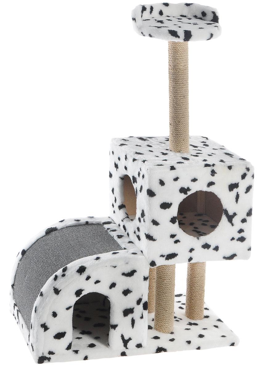 Домик-когтеточка Меридиан, двухуровневый, цвет: белый, черный, бежевый, 71 х 36 х 110 смД341ДДомик-когтеточка Меридиан выполнен из высококачественного ДВП и ДСП и обтянут искусственным мехом. Изделие предназначено для кошек. Ваш домашний питомец будет с удовольствием точить когти о специальные столбики, изготовленные из джута или о горку из ковролина. А отдохнуть он сможет либо на полке, либо в домиках. Домик-когтеточка Меридиан принесет пользу не только вашему питомцу, но и вам, так как он сохранит мебель от когтей и шерсти. Общий размер: 71 х 36 х 110 см. Размер нижнего домика: 36 х 36 х 32 см. Размер верхнего домика: 36 х 36 х 31 см. Размер полки: 26 х 26 см.