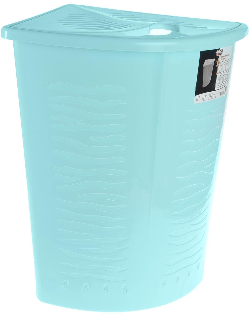 Корзина для белья BranQ Aqua, угловая, цвет: бирюзовый, 40 лBQ1700БРЗУгловая корзина для белья BranQ Aqua изготовлена из прочного полипропилена и оформлена перфорированными отверстиями, благодаря которым обеспечивается естественная вентиляция. Изделие идеально подходит для небольших ванных комнат. Корзина оснащена крышкой и ручкой для переноски. На крышке имеется выемка для удобного открывания крышки. Такая корзина для белья прекрасно впишется в интерьер ванной комнаты.