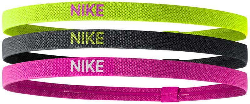 Повязка на голову Nike Elastic Hairbands 3pk, цвет: желтый, черный, розовый, 3 штN.JN.04.983.OSСиликоновые вставки с внутренней стороны резинки, позволяют ей надежно держать волосы и обеспечивать комфортную посадку. Сезонные цвета. Фирменный логотип обеспечивает моментальную узнаваемость бренда. 3 штуки в упаковке разных цветов, размер – 23 см длина в ненатянутом состоянии.