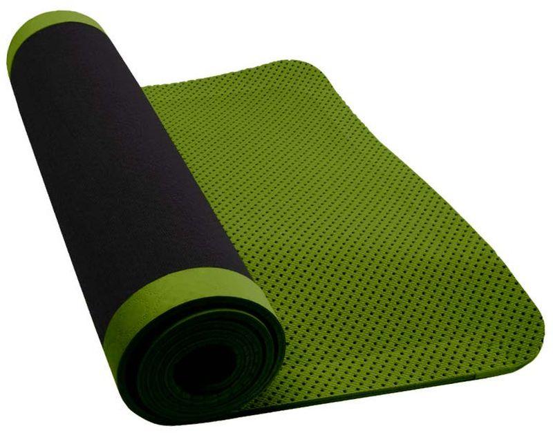 Коврик для йоги Nike Ultimate Yoga Mat 5mm, цвет: темно-серый, зеленыйN.YE.16.036.OSШтампованное swoosh-лого обеспечивает моментальную узнаваемость бренда. Шнурок для переноски обеспечивает комфортную транспортировку. Размер: 61 см х 173 см. Соединенное покрытие из микрофибры обеспечивает дополнительное сцепление и поглощение влаги. 5-миллиметровая перфоррированная вспененная резина имеет легкий вес и быстро сохнет. Не содержит PVC (поливинилхлорид) или латекс.