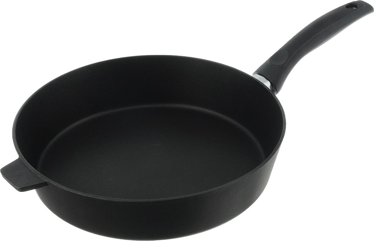 Сковорода Алита Хозяюшка, с антипригарным покрытием. Диаметр 28 см13111Сковорода Алита Хозяюшка изготовлена из литого алюминия с двухсторонним антипригарным покрытием. Благодаря такому покрытию, пища не пригорает и не прилипает к стенкам, готовить можно с минимальным количеством масла и жиров. Гладкая поверхность обеспечивает легкость ухода за посудой. Сковорода оснащена удобной ручкой. Подходит для использования на всех типах плит, кроме индукционных. Диаметр сковороды (по верхнему краю): 28 см. Высота стенки: 6,5 см. Длина ручки: 18,5 см.