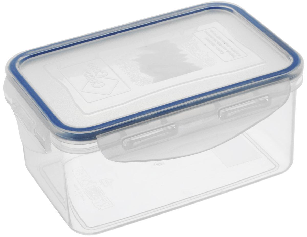 Контейнер пищевой Good&Good, цвет: прозрачный, синий, 800 мл2-2-АВПрямоугольный контейнер Good&Good изготовлен из высококачественного полипропилена и предназначен для хранения любых пищевых продуктов. Благодаря особым технологиям изготовления, лоток в течение времени службы не меняет цвет и не пропитывается запахами. Крышка с силиконовой вставкой герметично защелкивается специальным механизмом. Контейнер Good&Good удобен для ежедневного использования в быту. Можно мыть в посудомоечной машине и использовать в микроволновой печи.